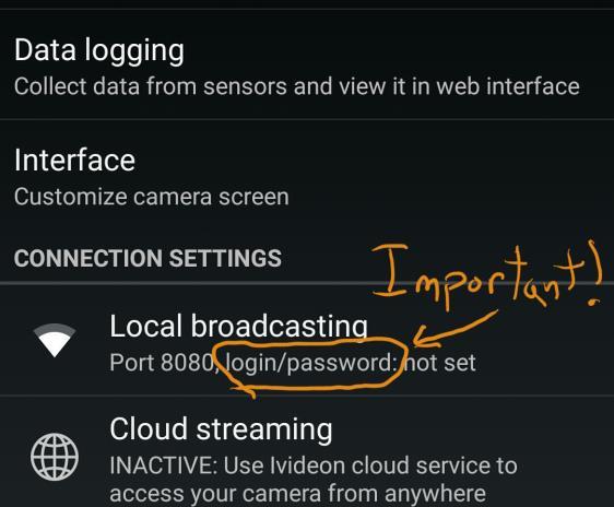 Phone app settings screen.