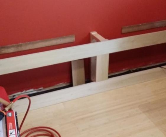 Frame of 2x4 pine and studs/scrap, with Yellow Poplar boards for the fronts.