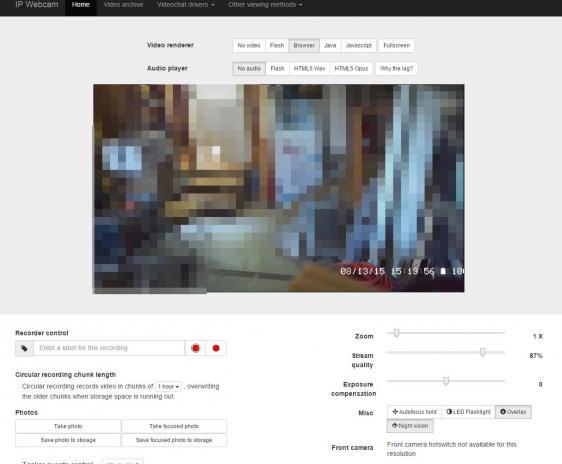 Web broswer camera interface.